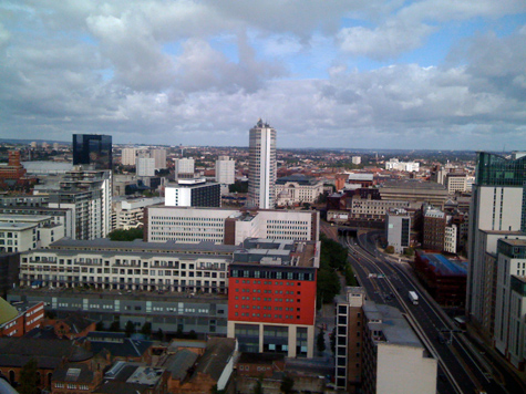 Looking north-west from Cleveland Tower, Holloway Head, Birmingham, over the Mailbox and Centenary Square