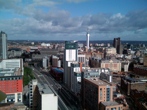 Looking north from Cleveland Tower, Holloway Head, Birmingham at the BT Tower and Jewellery Quarter