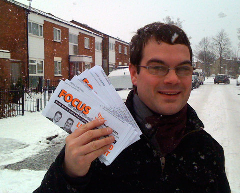 Delivering in the snow in Summerfield, Ladywood